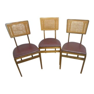 Mid-Century Stakmore Folding Cane Chairs - Set of 3