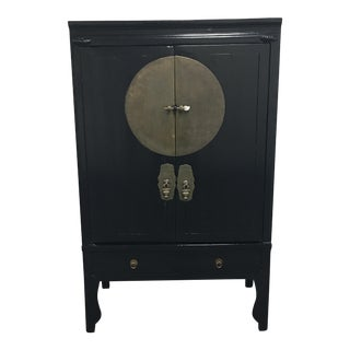 Chinese Black Lacquer & Brass Details Wedding Cabinet