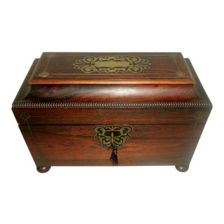 19th Century English Rosewood Tea Caddy