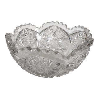 Antique Saw Tooth Cut Crystal Bowl