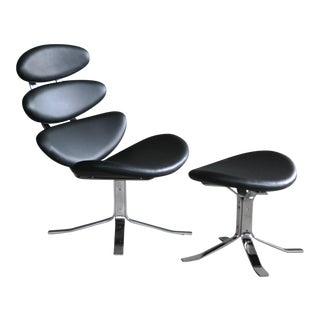Poul Volther Style Corona Steel and Leather Lounge Chair & Ottoman