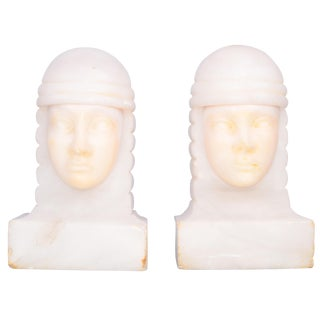 Egyptian Art Deco Alabaster Marble Bookends
