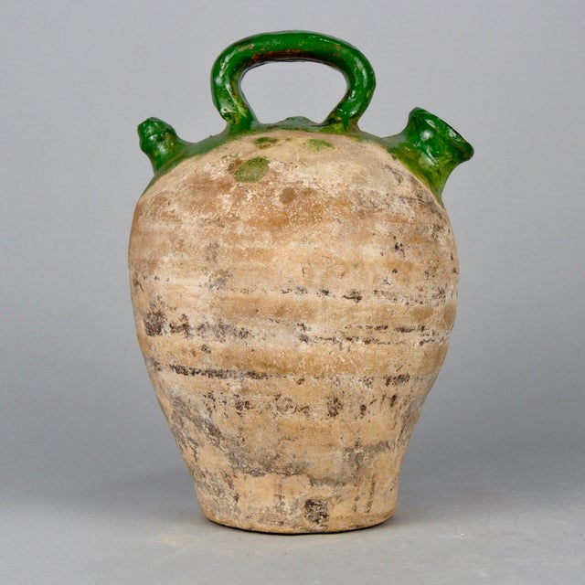 Green Terra Cotta : French medium terra cotta and green glazed jug chairish