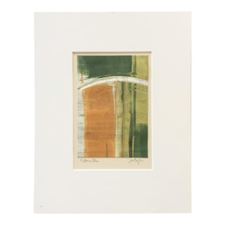 "Vintage Abstract Pattern Signed Monotype ""Bonus Plus"" by Joan W. Caefer - Original Print on Paper With Green, Orange, and Black"