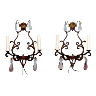 French Two-Light Iron & Crystal Sconces - A Pair