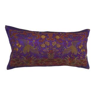 Vintage Lilac Silk Crane Boudoir Pillow