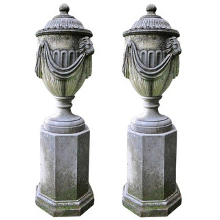 Hand Carved Italian Covered Urns with Pedestals