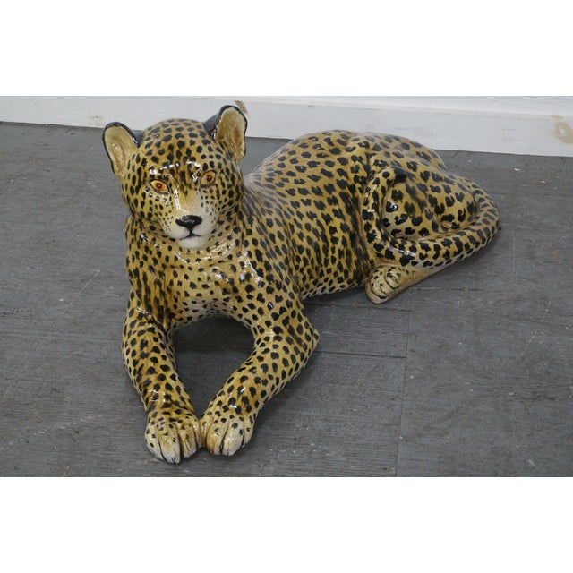 Large Italian Pottery Ceramic Leopard Statue Chairish