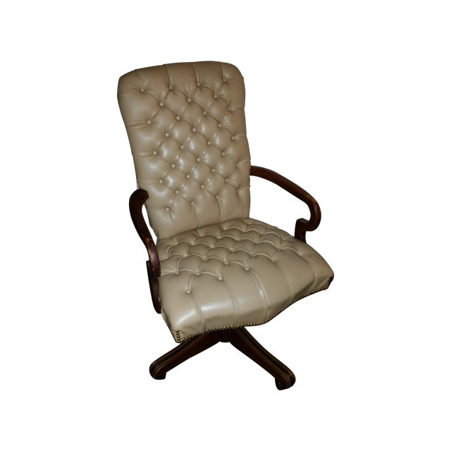 Image of Vintage Tufted Leather and Wood Executive Chair
