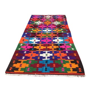 Vintage Turkish Kilim Rug - 4′12″ × 9′8″