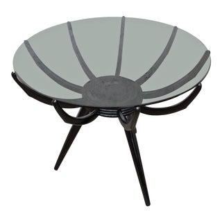 Italian Modern Round Black End Table by Carlo De Carli