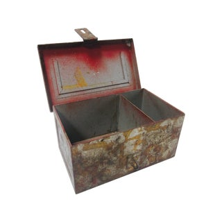 Vintage Rustic Metal Industrial Storage Tool Box