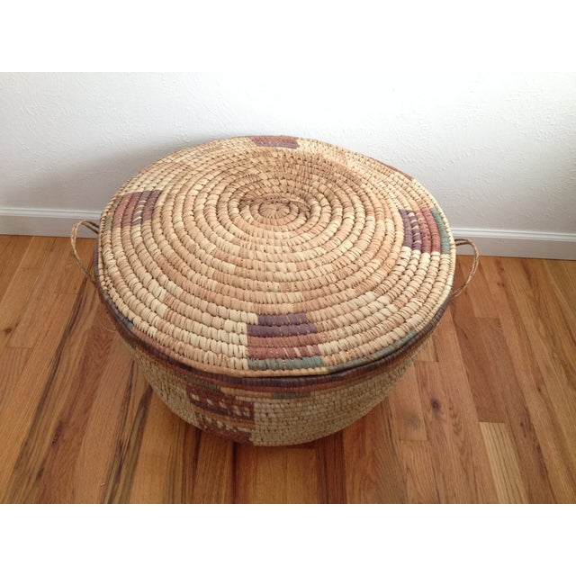 Large Hand Woven African Basket - Image 3 of 7