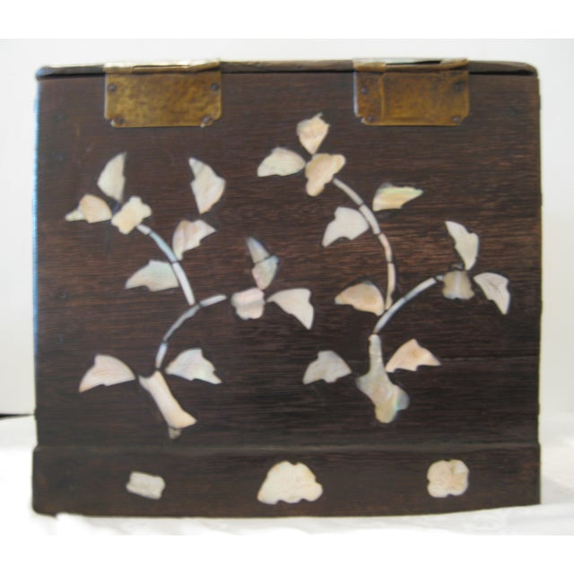Antique Mother of Pearl Inlay Jewelry Box - Image 4 of 6