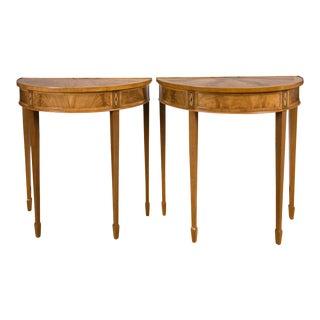 Vintage Mahogany Demi-Lune Tables - A Pair
