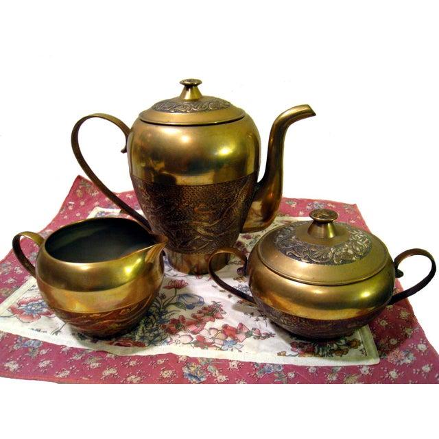 Vintage Hammered Brass Goldfish Tea Set - Image 3 of 10
