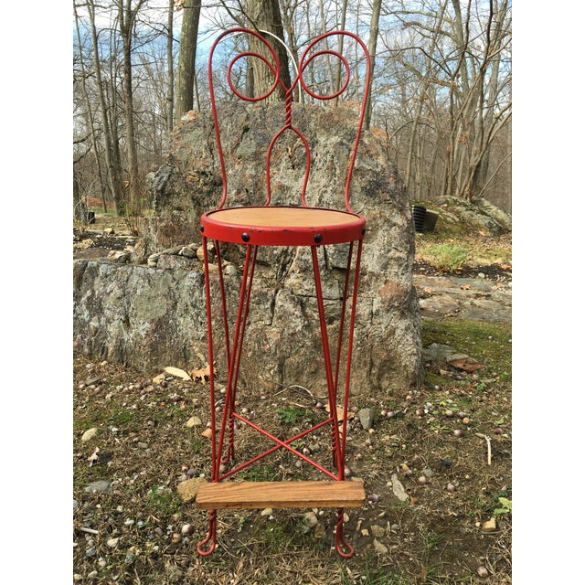 Image of Vintage Red Iron Bar Stool