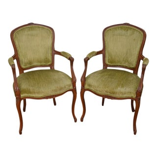 Quality Pair of Vintage French Louis XV Style Arm Chairs