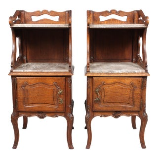 French Marble Top Nightstands - A Pair