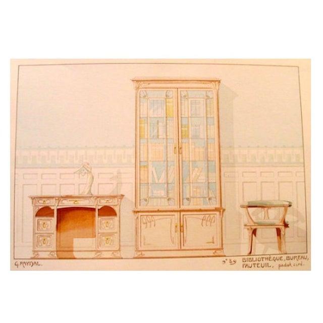 Vintage French Decorator Sheet Interior/Bookcase - Image 1 of 4