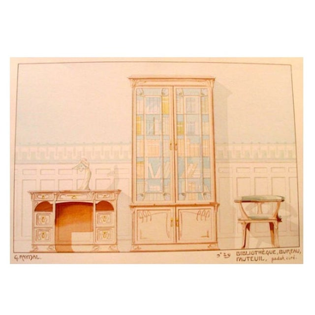 Image of Vintage French Decorator Sheet Interior/Bookcase