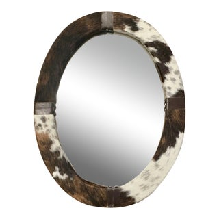 Brown & White Animal Cow Hide & Leather Oval Wall Mirror