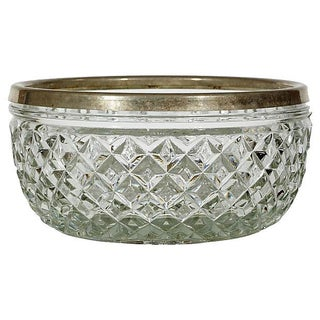 Silver-Plate & Diamond Glass Catchall