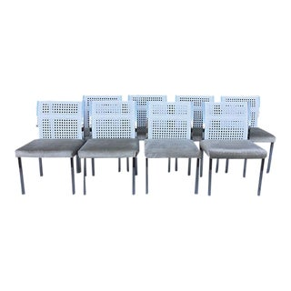 Cane & Chrome Dining Chairs - Set of 8