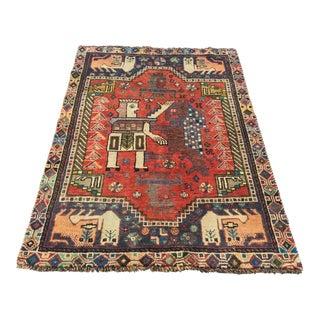 "Vintage Persian Shiraz Rug - 3'8"" x 5'3"""