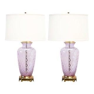 LAVENDER + PINK ITALIAN OPTIC LAMPS BY PAUL HANSON, A PAIR