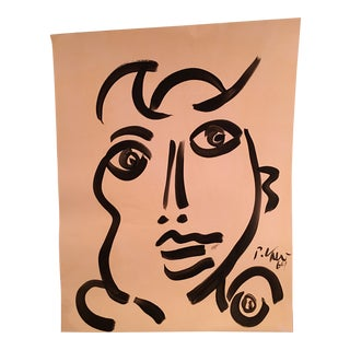 1969 Peter Keil Girl Abstract Portrait Painting