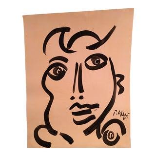 1969 Peter Kiel Girl Abstract Portrait Painting