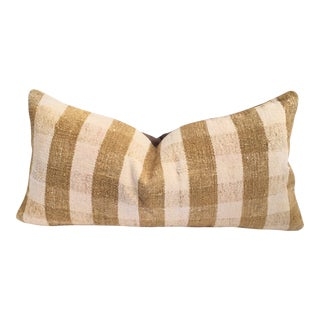 Mustard Buffalo Check Plaid Kilim Pillow
