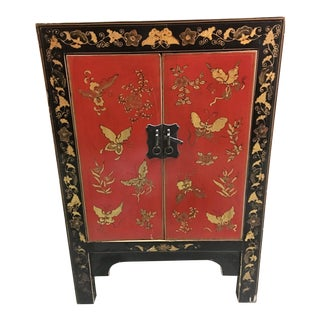 Asian Hand-Painted Lacquer Cabinet