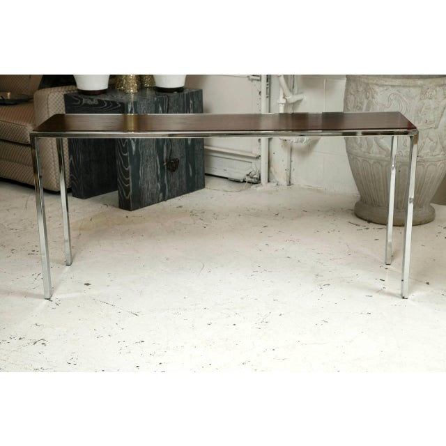 1960s Chrome and Mahogany Console Table - Image 2 of 5