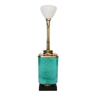 Tommi Parzinger Style Turquoise Ceramic & Brass Handle Mid-Century Lamp