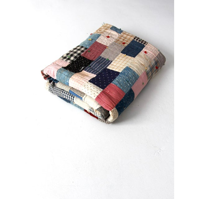 Vintage Hand-Tied Patchwork Quilt - Image 2 of 10