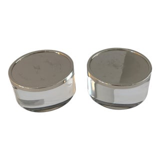 Acrylic in Chrome Candle Holders - A Pair