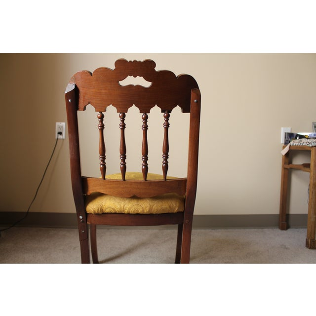 Wood & Yellow Seat Louis XV Style Side Chair - Image 4 of 7