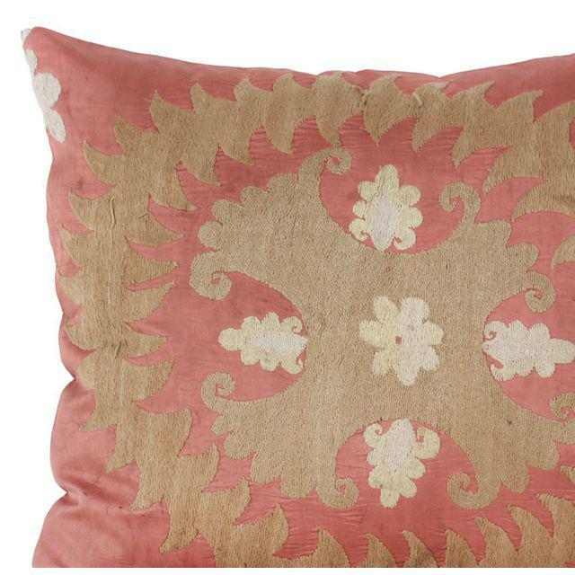 Vintage Cotton & Rayon Embroidered Suzani Pillow - Image 3 of 5