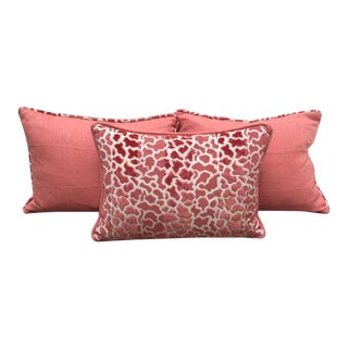 Coral Linen Pillows - Set of 3
