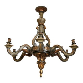 French Carved Wood Painted and Gilded Six-Light Chandelier
