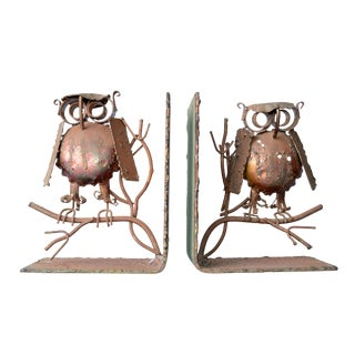 Curtis Jere Copper Owl Bookends - a Pair