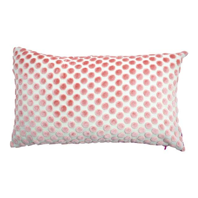 Italian Light Pink Velvet Polka Dot Lumbar Pillow - Image 1 of 5