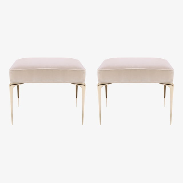 Colette Brass Ottomans in Nude Velvet by Montage, Pair - Image 2 of 7