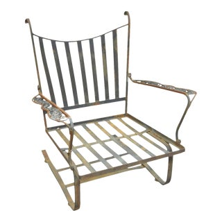 Vintage Woodard Andalusian Rustic Wrought Iron Patio Bouncer Lounge Chair