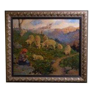 """""""Jeune Fille en écharpe Rouge Avec Mouton"""" Plein Air Painting"""