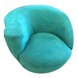 Modern Directional Vladimir Kagan Teal Nautilus Swivel Chair