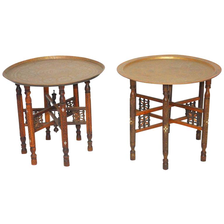 Moroccan Brass Tray And Wood Drink Tables   A Pair