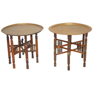 Moroccan Brass Tray and Wood Drink Tables - A Pair